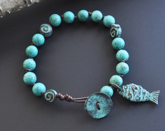 Greek Copper Turquoise Howlite Hand Knotted Leather Beaded Bracelet with Fish Charm