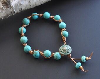 Turquoise Howlite Zola Elements Hand Knotted Boho Leather Stacking Bracelet