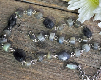 Rustic Labradorite, Iolite and Sterling Silver Handmade Unisex Choker Necklace