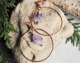Raw Rainbow Fluorite Nugget Handmade Copper Boho Hoop Earrings