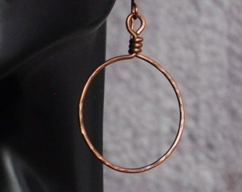 Simple Textured Handmade Oxidized Copper Boho Hoop Earrings