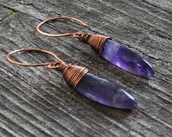 Amethyst Daggers Copper Wire Wrapped Dangle Earrings