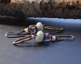 Amazonite Czech Glass & Copper Dangle Hancrafted Earrings with Sterling Silver Ear Wires