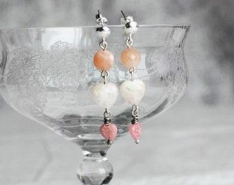 Multi Gemstone Peach Moonstone Beryl Rhodochrosite Dangle Sterling Silver Handmade Post Earrings