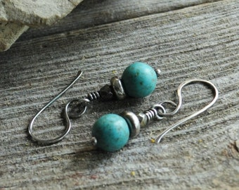 Small Blue Turquoise Howlite, Pyrite & Sterling Silver Drop Earrings