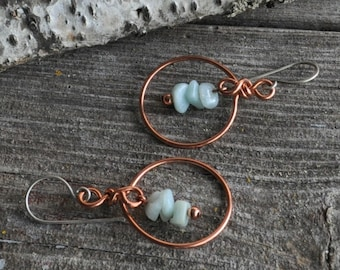 Handmade Copper Hoop Earrings with Amazonite Chips & Sterling Silver Ear Wires