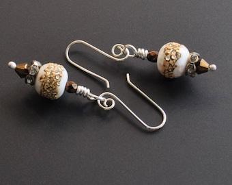 Vintage Lampwork Beachy Glass Dangle Earrings Sterling Silver Handmade