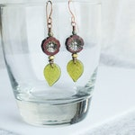 Red Hisbiscus Czech Glass Flower Handmade Garden Party Collection Boho Dangle Earrings
