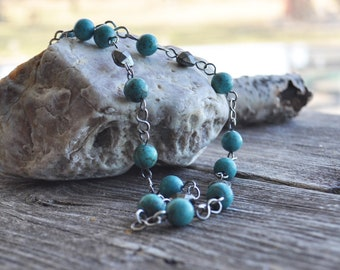 Sterling Silver Turquoise Howlite & Hematite Handmade Princess Length Beaded Chain Necklace
