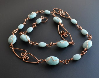 Light Blue Amazonite Shiny Copper Wire Wrapped Necklace