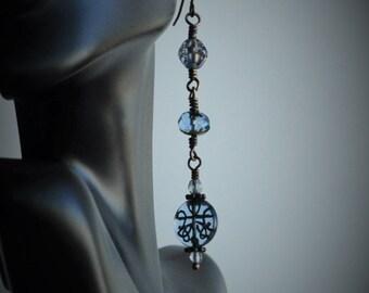 Periwinkle Blue Czech Glass Boho Dangle Earrings