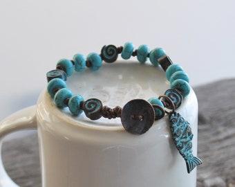 Greek Patina Copper Nautilus Fish Turquoise Howlite Knotted Leather Boho Stacking Bracelet