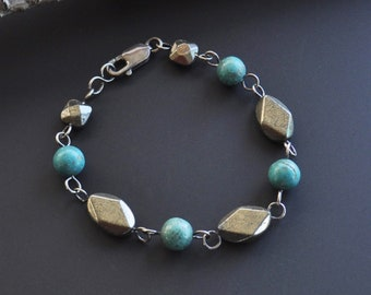 Hematite & Turquoise Howlite Sterling Silver Bracelet