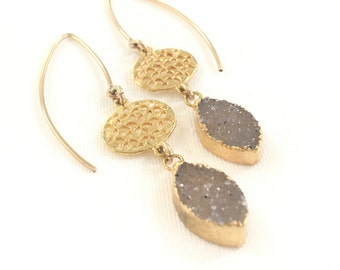 Druzy wire earrings