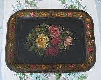 Vintage Hand Painted Floral Metal Tole Dish Novel In Design;