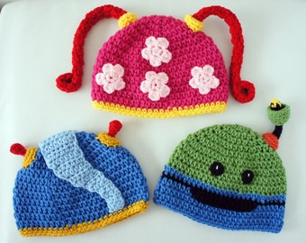 Team Umizoomi Hats Milli Geo Bot Crochet Baby Hat Baby Hat photo prop Inspired by Team Umizoomi & Milli Hat Team Umizoomi Hat Crochet Baby Hat Baby Hat