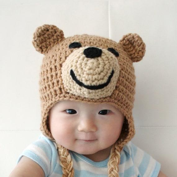 Ted Bear Hat Teddy Bear hat Crochet Baby Hat Bear Baby Hat  8d899379cbc