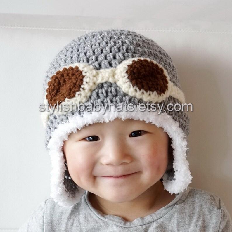 Cappello da aviatore grigio   grigio uncinetto bambino  eb6dee46e5f