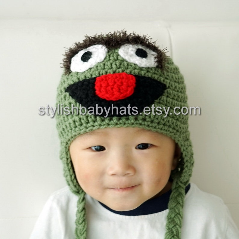 13ccbfc450d Oscar the Grouch Hat Crochet Baby Hat Animal Hat photo