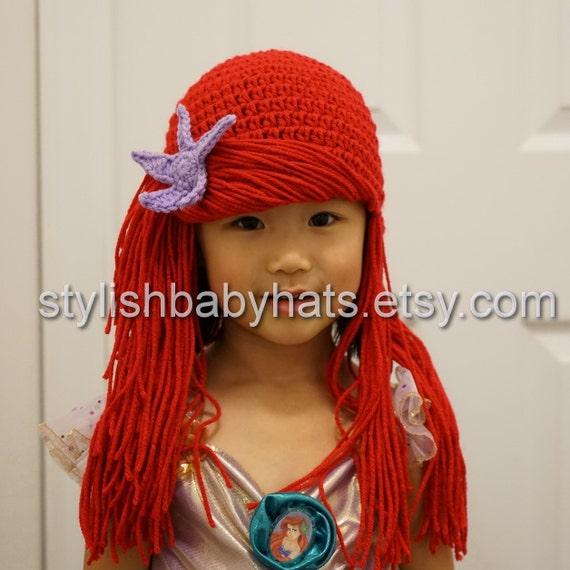Little Mermaid Arial rosso capelli uncinetto cappello del  cbb329a8e4b8