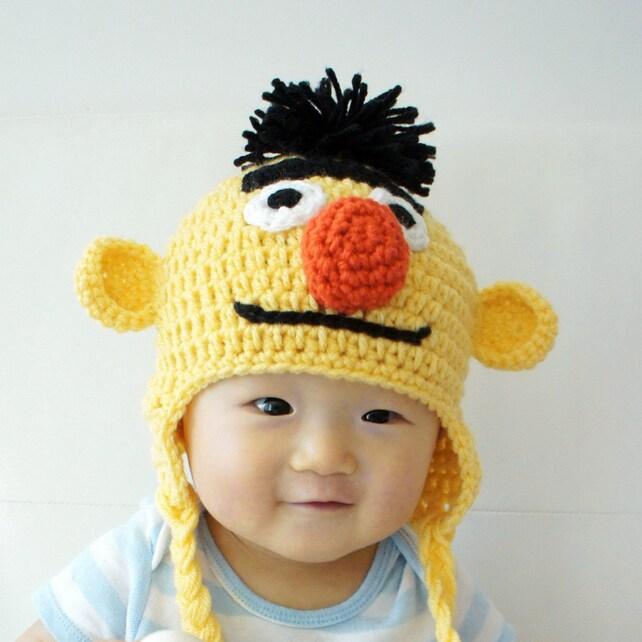 Bert Muppet Hat Bert häkeln Babymütze Babymütze Tier-Hut | Etsy