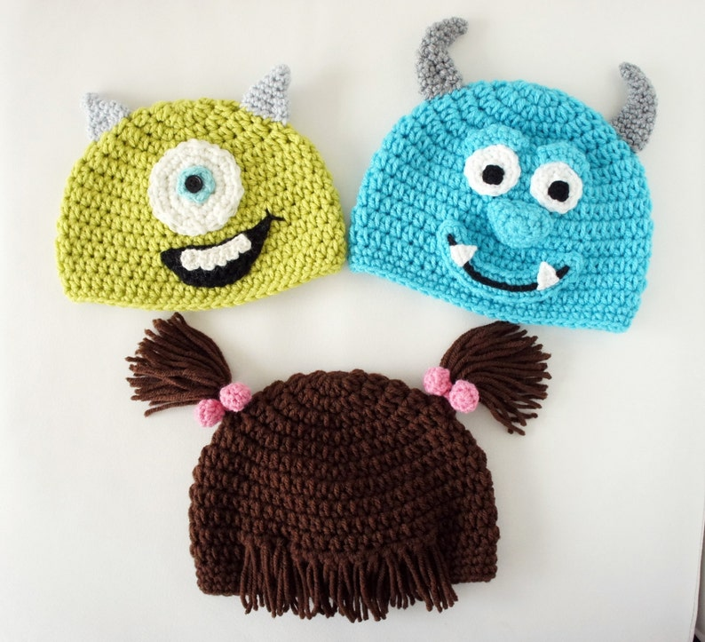 b72a012808c Monsters Hats Mike Sulley Boo Crochet Monster Hat Crochet
