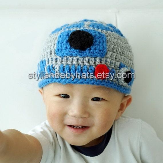 a6dec04bfdd R2D2 hat Star Wars hat Crochet R2-D2 Hat Crochet Baby Hat