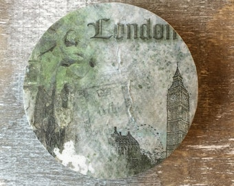 London Calling Decoupage Silver Painted Round Wooden Magnet