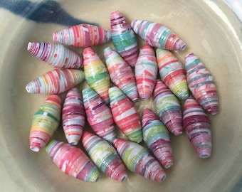 """Marbled Brights Hand Rolled Oval Paper Beads 1"""": Set of 20"""