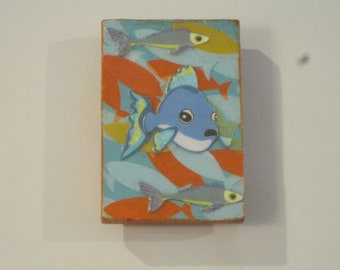 Orange, Blue and Yellow Decoupage Fish Painted Wooden Rectangle Magnet