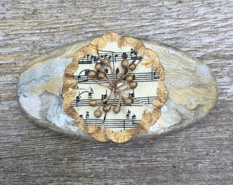 Silver and Gold Hand Painted Hair Clip Barrette with Sheet Music Flower