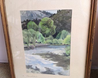 Klamath River PAIR 1952 Watercolor Paintings By H. D. Cayford
