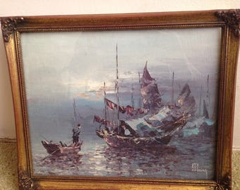 Chinese Junk And Other Boats On Ocean Signed J. T. Young