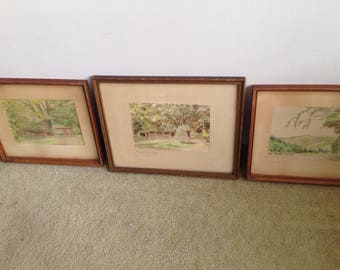 Three 1957 Klamath River And Klamath Lodge Paintings By H. D. Cayford