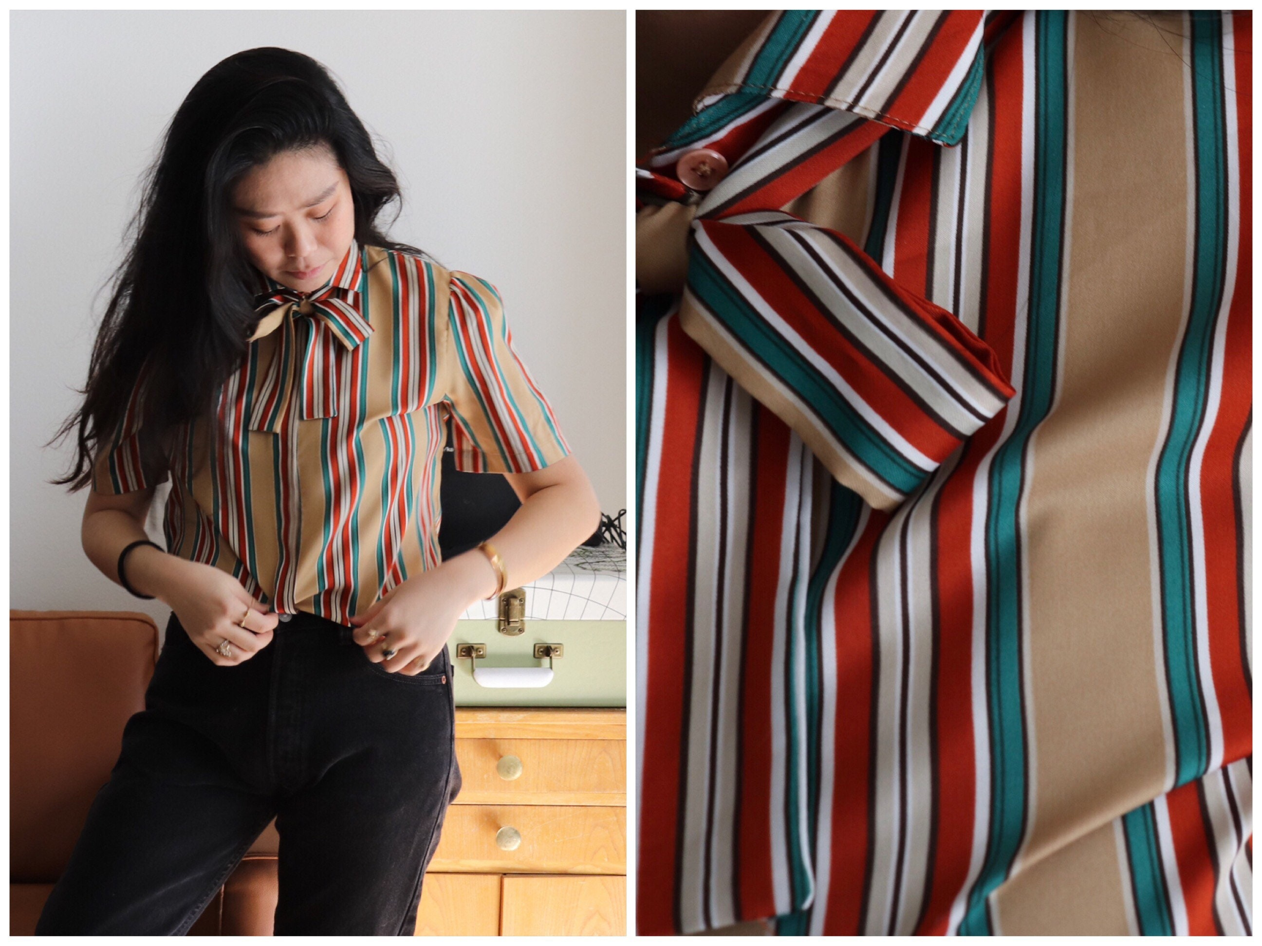Vintage Scarf Styles -1920s to 1960s Rare Vintage 70S Multi Color Stripe Levis Short Sleeve Blouse Bow Silk Scarf Shirt Retro Mod Mustard $65.00 AT vintagedancer.com