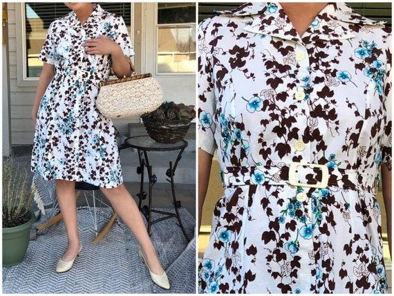 Vintage 50s 60s midcentury floral belted dress A l