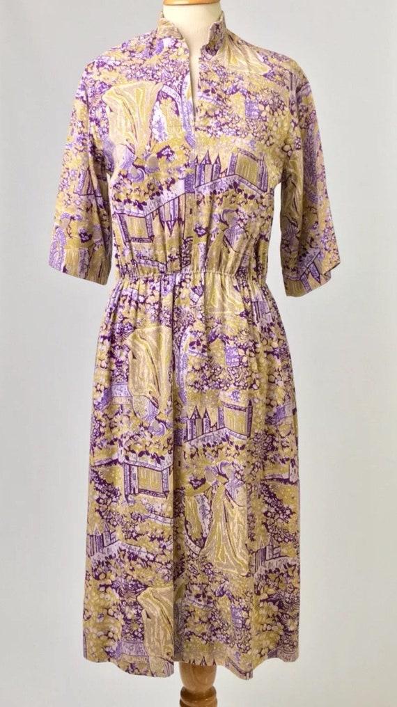 Vintage true 70s handmade dress French toile de j… - image 2