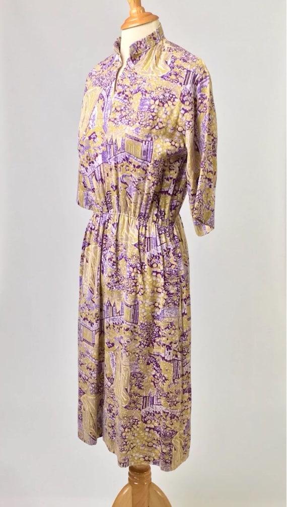 Vintage true 70s handmade dress French toile de j… - image 3