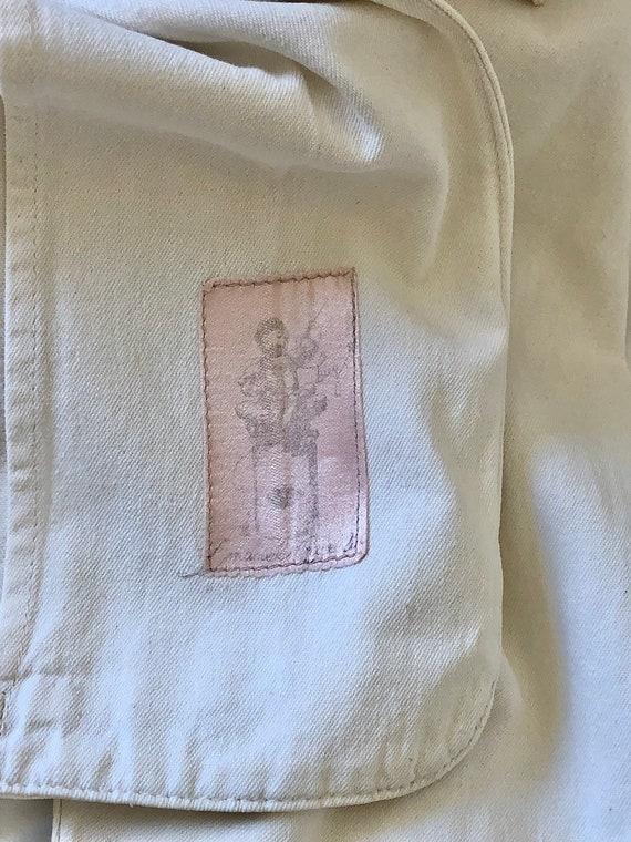 vintage 80s French white canvas linen cotton blaz… - image 8