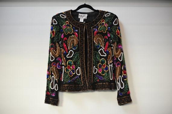 beaded purple evening formal jacket Joan Leslie Talbots Size 10 SALE    Vintage 80s