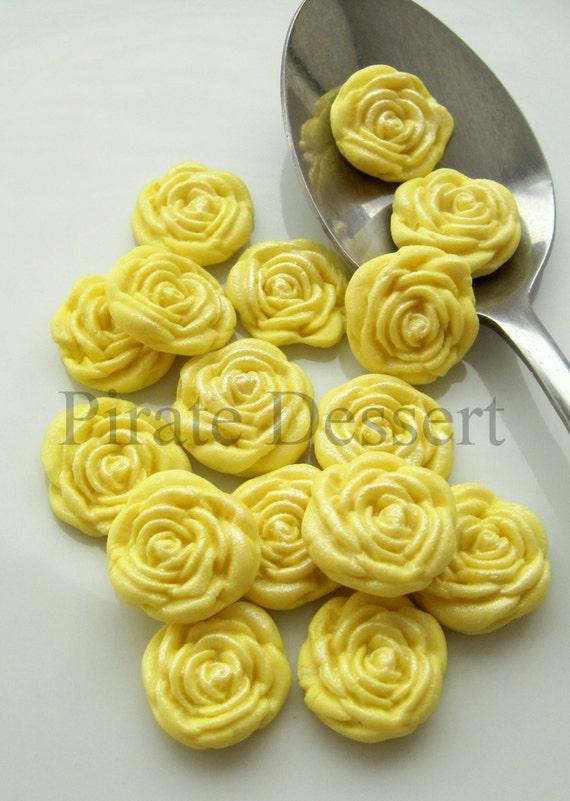Yellow Fondant Roses Cupcake Toppers Sugar Flowers Half Etsy