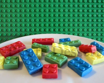 Edible Candy Brick Cupcake toppers- Classic toy blocks inspired Cake toppers- Assorted Color- Candy Bricks- Birthday (Mixed color)(16piece)