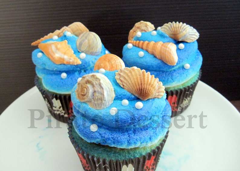 12 Shells Chocolate Swirl Cupcake toppers -CANDY SEA SHELLS -Under the Sea -Fondant Cupcake Toppers mixed Size Edible cake decorations