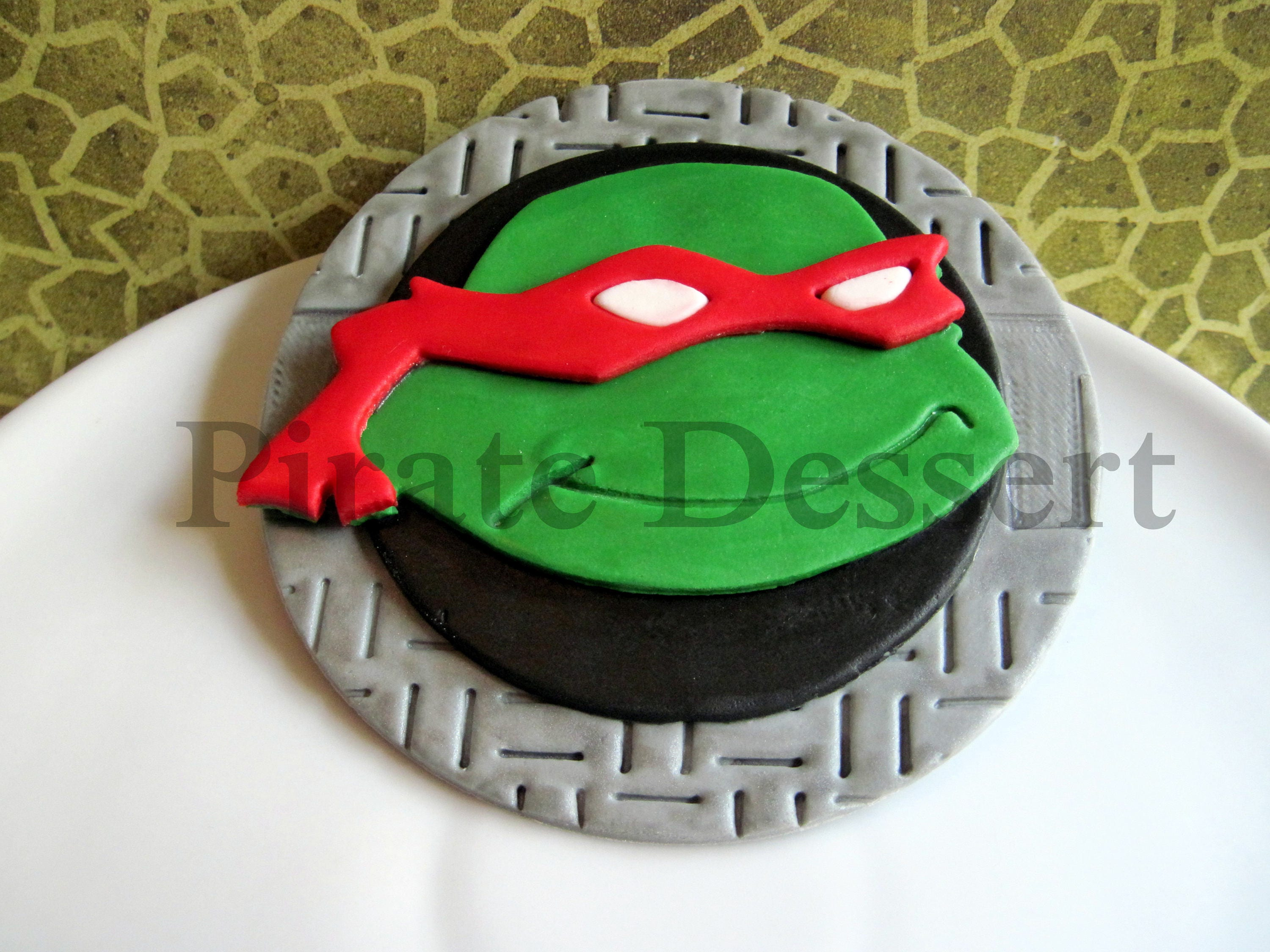 Awesome Edible Tmnt Face Cake Topper Ninja Turtle Cake Topper Etsy Funny Birthday Cards Online Overcheapnameinfo