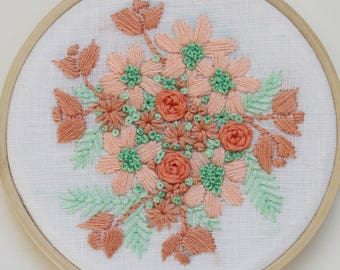Peach and Mint Floral Embroidery Hoop Art