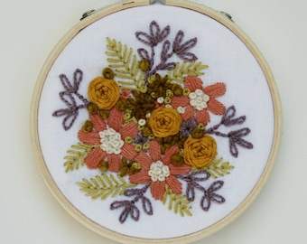 Rose, Gold, Purple and Green Floral Embroidery Hoop Art