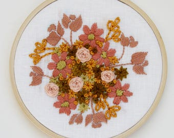 Rose and Gold Floral Embroidery Hoop Art