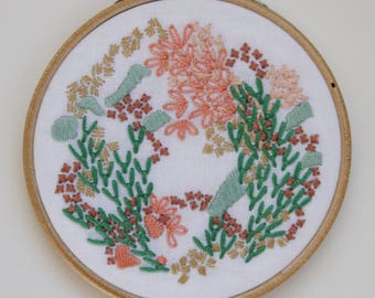 Sea Green and Peach Abstract Embroidery Hoop Art