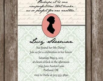 Jane Austen nuziale doccia invito stampabile / / personalizzabile / / Digital File