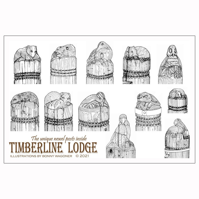 Timberline Lodge  unique newel post stickers image 0